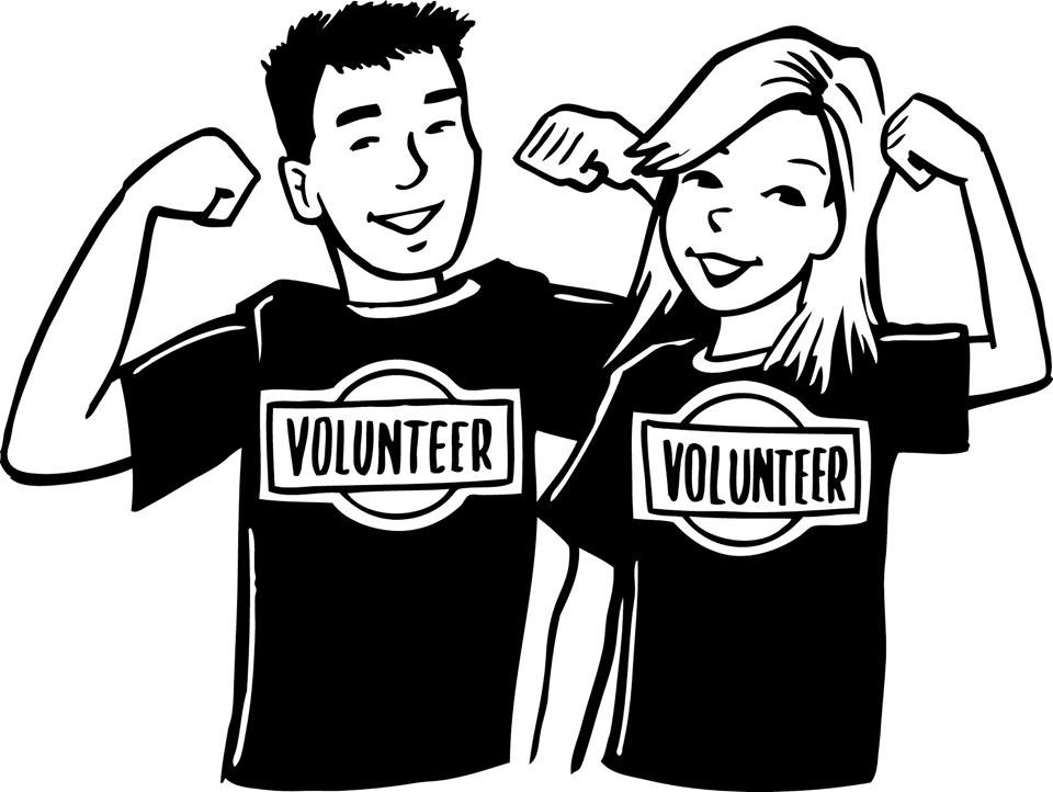 man and women standing next to each other with biceps flexed and wearing t-shirts that say volunteer