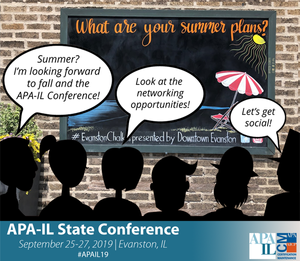 "chalkboard that says ""what are you summer plans? with silhouettes talking about the social events this fall at the conference"