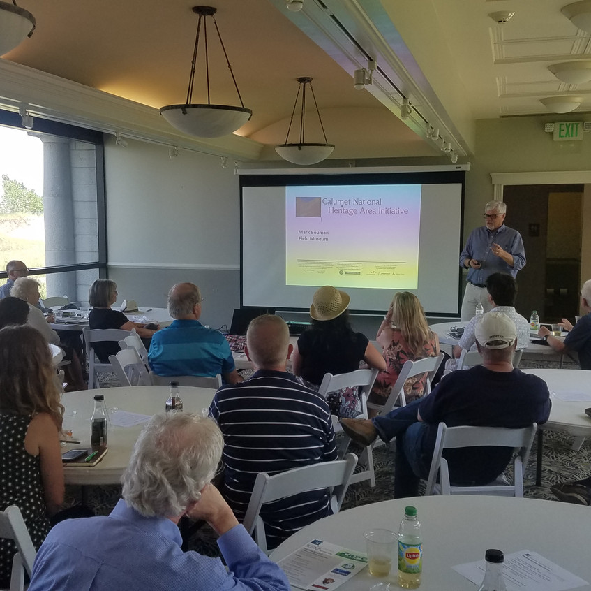 """Mark Bouman, Field Museum, presents during the APA-CMS Program """"Planning Issues of Illinois-Indiana"""" on 7/11/18 (photo by Brandon Nolin, AICP)"""