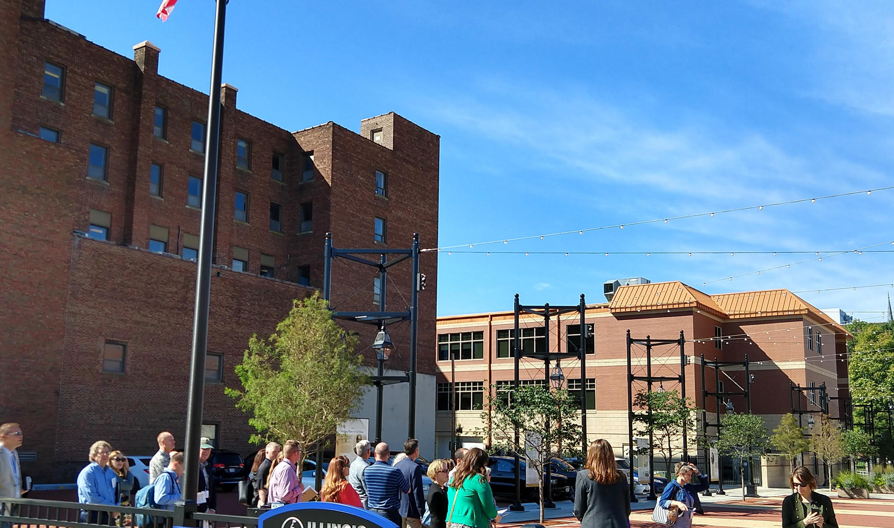 Learning about the Bicentennial Plaza during the Springfield Walking Tour mobile workshop (photo by Ben LeRoy)