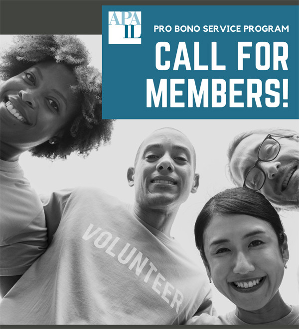APA-IL Pro Bono Program Call for Member Volunteers - Black and white photo of 4 people in a group smiling at the camera