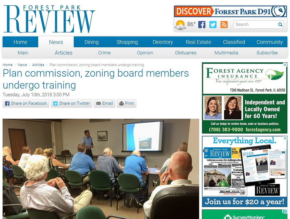 image of the Forest Park Review website with the plan commissioner training article