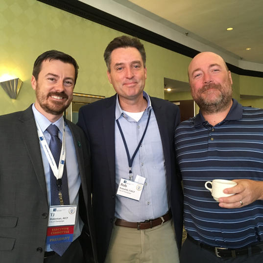 (right to left) APA-IL President TJ Blakeman, AICP; Past President Rob Kowalski, FAICP; APA-IL PDO Trevor Dick, AICP
