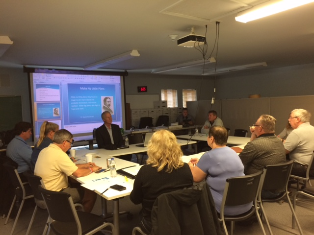 Steger Plan Commission Training, Bob Sullivan, FAICP leads the presentation, (photo by Laurie Marston, FAICP), August 28, 2017
