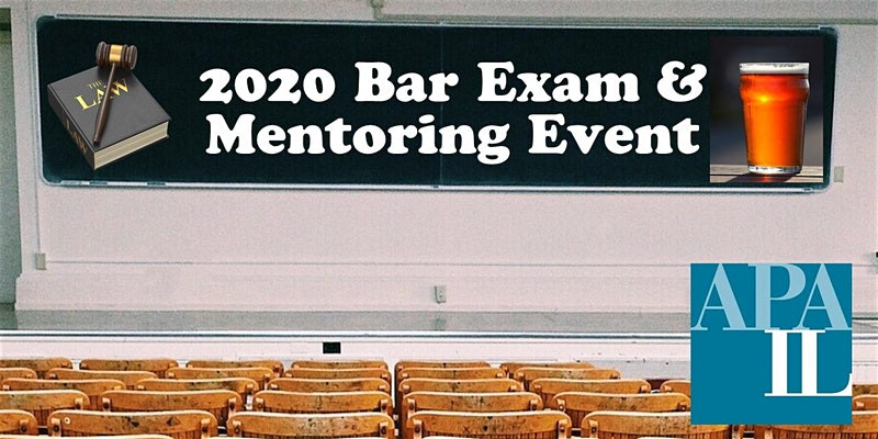 """photo of a classroom with the '2020 Bar Exam & Mentoring Event"""" written on chalkboard"""