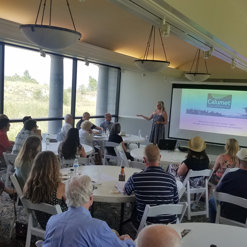 """Sarah Coulter, Executive Director of the Calumet Collaborative speaking during the APA-CMS Program """"Planning Issues of Illinois-Indiana"""" on 7/11/18 (photo by Brandon Nolin, AICP)"""