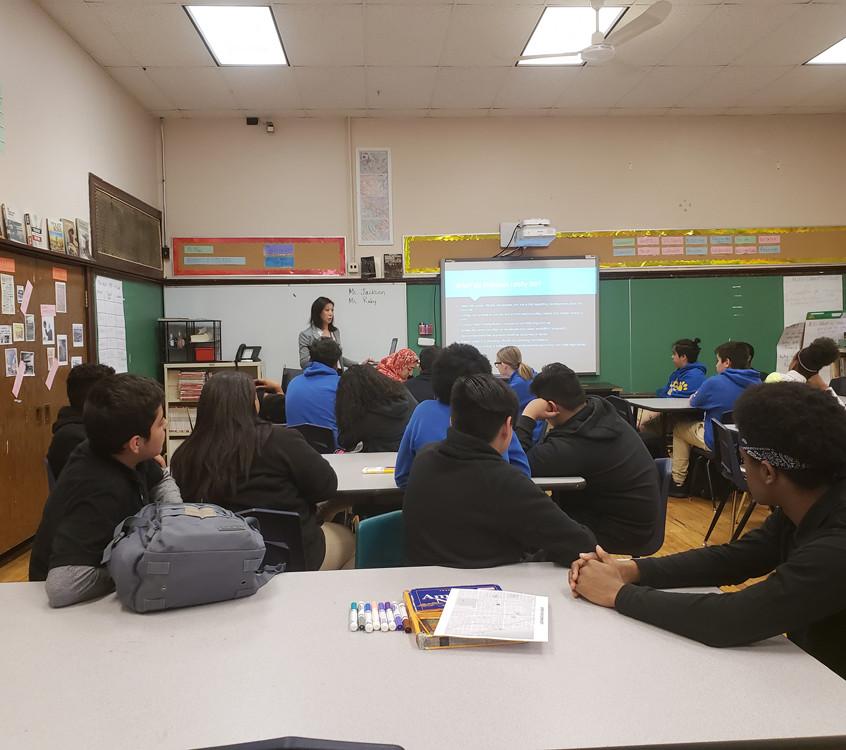 Jaemi Jackson, AICP presents. APA-IL Ambassadors visit George Armstrong Elementary, May 11, 2018.