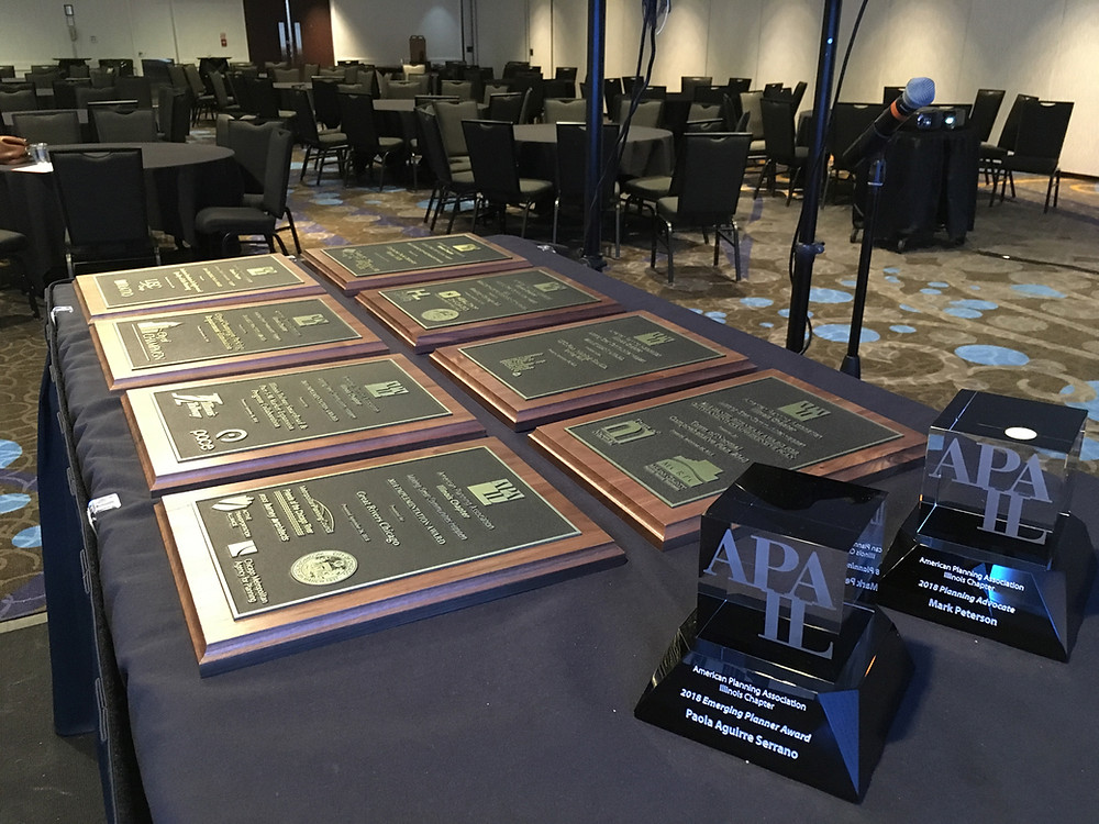 APA-IL Awards Plaques laid out on table at the 2018 state conference