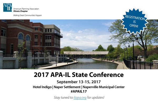 conference header announcing registration open, view of hotel and river