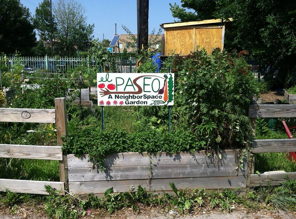 El Paseo garden showing sign that says el Paseo A NeighborSpace Garden
