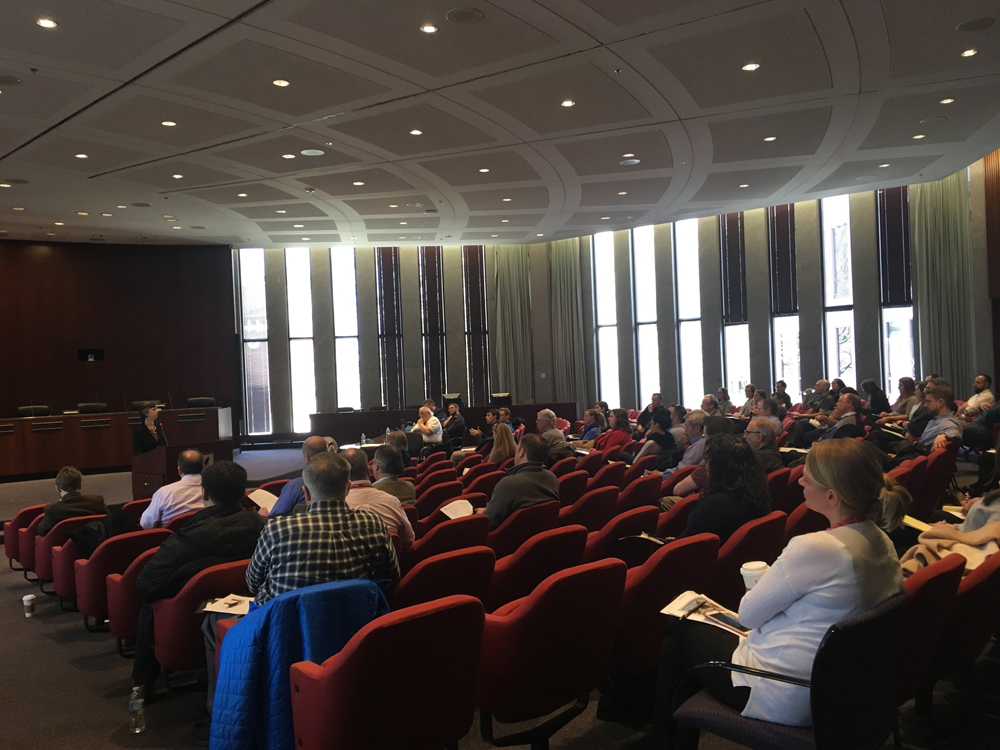 Valerie Kretchmer, President of Valerie S. Kretchmer Associates, Inc. presents during Developmental Rules of Thumb: The Regulations and Realities Every Planner Should Know on April 10, 2018 at the City of Naperville (photo by Gabrielle Mattingly, City of Naperville)