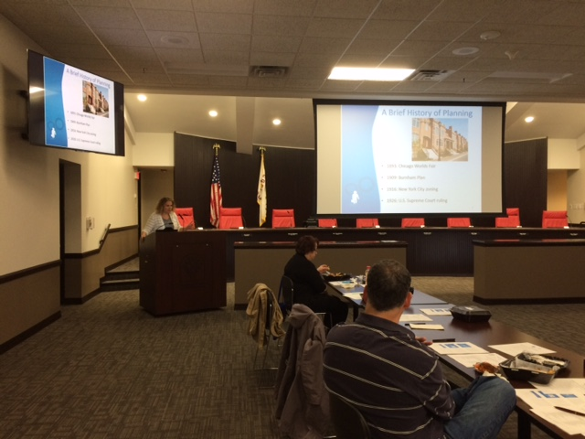 Hanover Park Plan Commissioner Training on October 12, 2017. Courtney Kashima, AICP presenting. (photo by Laurie Marston, FAICP)