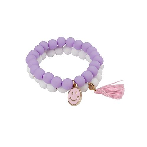 Ensemble de 2 bracelets pompon et «Happy Face»