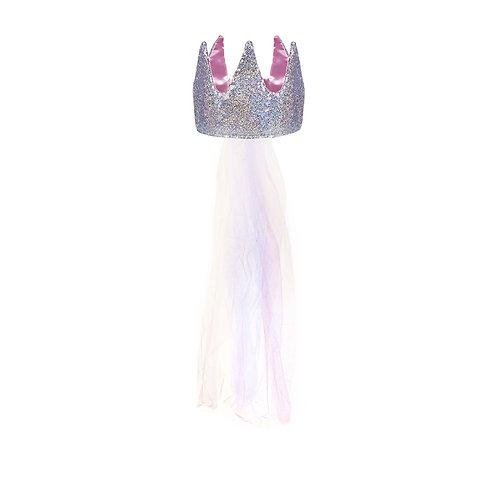 Couronne de princesse en tissu, avec voile