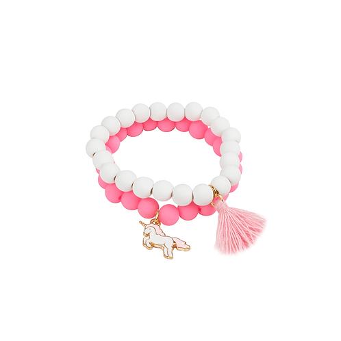 Ensemble de 2 bracelets pompon et licorne