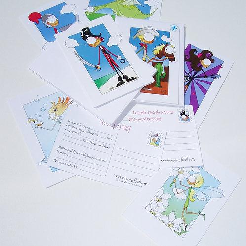 Invitations thématiques pour fête d'enfants ( paquet de 8 invitations)