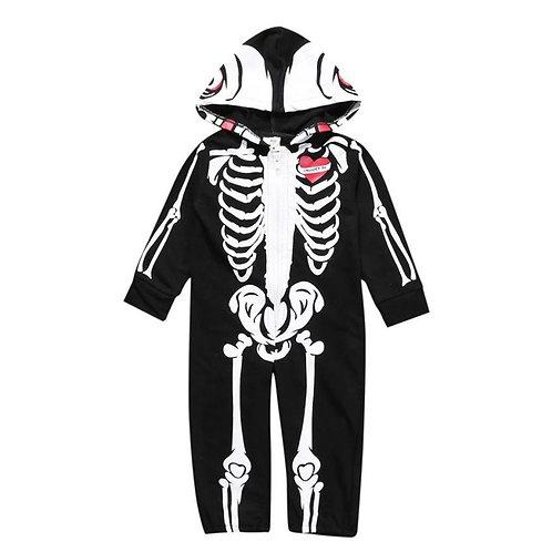 Barboteuse à capuchon motif squelette