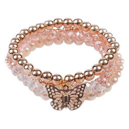 Ensemble de 4 bracelets papillon métallique rose