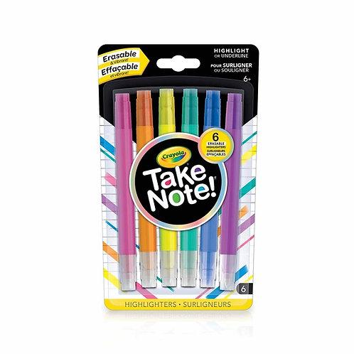 6 surligneurs effaçables ''Take Note!'' de Crayola