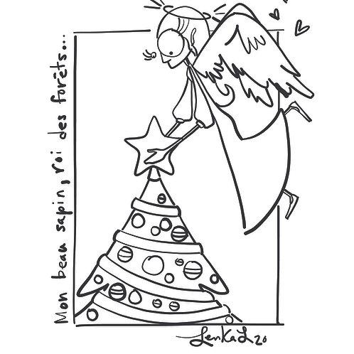Dessin à colorier - Ange de Noël par Lenka Lagueux