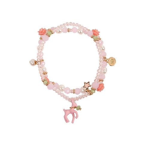 Bracelet à breloques avec petit chevreuil rose