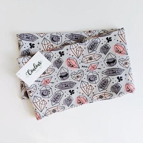 Foulard infini coton ouaté Cristaux corail-gris adulte ou enfant