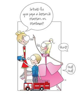 Illustration pour les faire-part du mariage de Cathy et Charles.