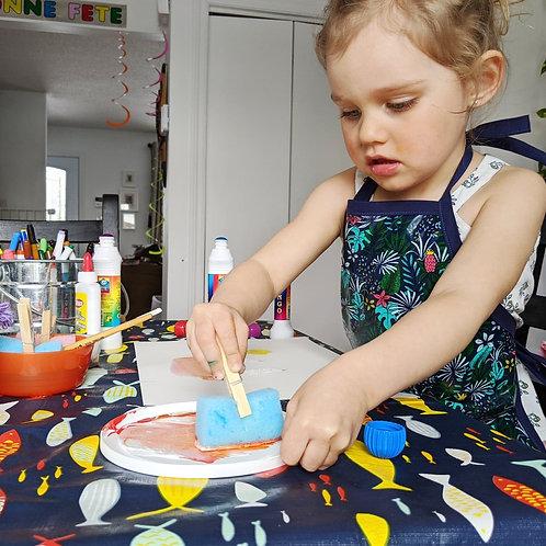 Tablier en coton laminée pour jeune cuistot-artiste-scientifique.