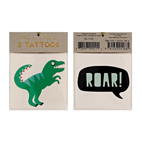 2 Tatouages temporaires de dinosaure