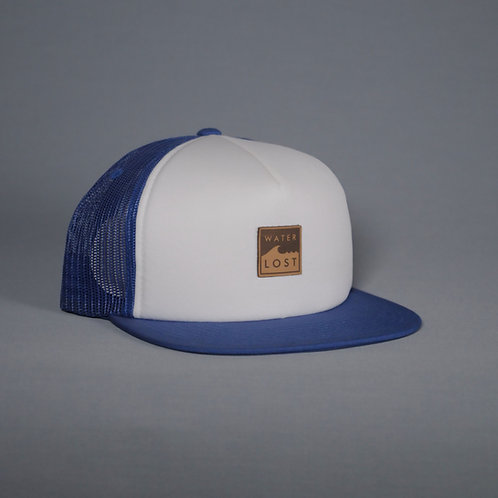 Square wave leather Snapback trucker