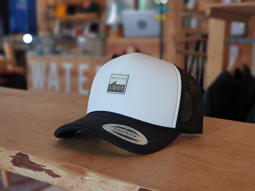 Square Wave leather round snapback trucker