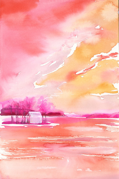 Lil Boathouse in pink riverscape
