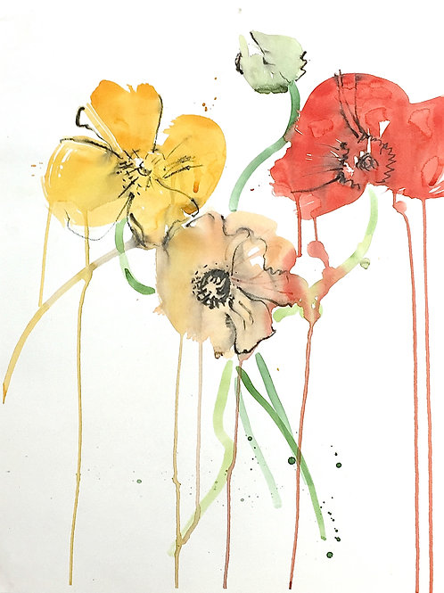 3 Poppies and a Bud with drips