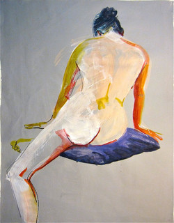 """Nude #1183 - 18""""x23.5""""-watercolor, gouache on paper painted with acrylic"""