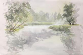 Misty Morning at the Old Bridge 12x17.75