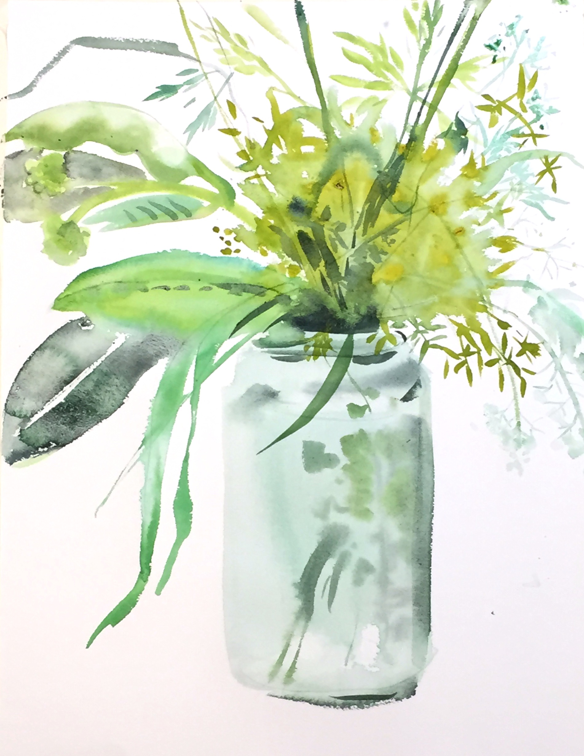 Grasses in Jar- 11x17_ watercolor - Vers