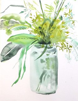 Grasses in Jar- 11x17_ watercolor - Vers