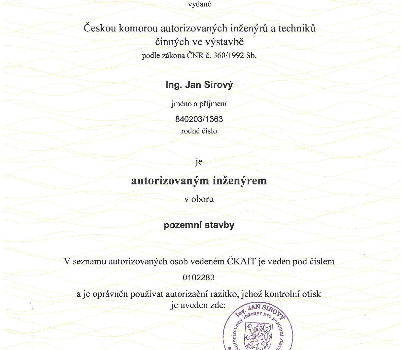 2014-05-20 ČKAIT, Osvědčení o autorizaci