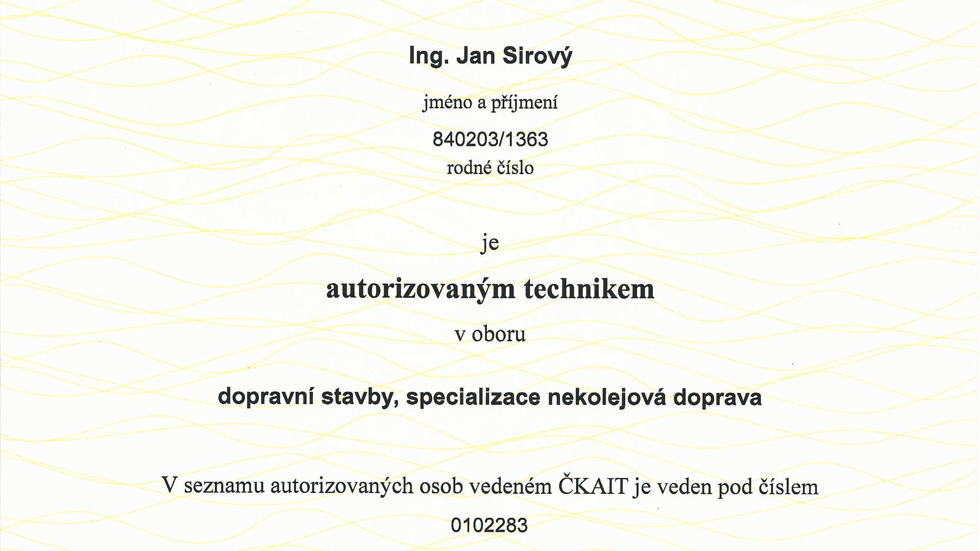 Sirový, Autorizace dopravní stavby.jpg