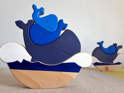 jouet en bois fait en france - Baleine à empiler - Jouet d'éveil - Puzzle artisanal - Thème marin - cadeau personnalisé - jouet écologique fait en france - jouet d'éveil - idée cadeau bébé - cadeau de naissance - jouet en bois