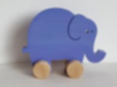 Baboom, éléphant en bois à pousser. Jouet design et moderne, fabriqué et peint à la main en France.