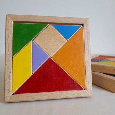 Jeu en bois, fait en france - Le tangram, c'est 7 pièces pour de multiples combinaisons. 5 triangles, un carré et un parallélogramme pour créer un chat, une maison, une tortue, une bougie, un cheval, un bateau, un poisson, un lapin... ou une tour Eiffel (enfin pour la tour, il faut 4 tangrams ;-).  Ce jeu d'origine chinoise est parfait pour stimuler la créativité et l'imagination. Avec son cadre en bois, le jeu devient aussi casse-tête géométrique. L'enfant doit alors reformer le carré d'origine.  De 3 à 99 ans Jouet en bois de hêtre Dimension : 14.5 cm x 14.5 cm Disponible en bois naturel ou coloré  Pour la version colorée, 2 modèles sontdisponibles : - Arc-en-ciel - Arc-en-terre    Conforme aux normes européennes EN71-1 et EN71-3.