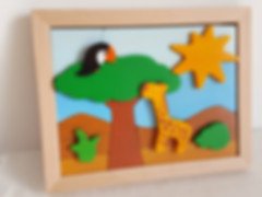 Tableau Puzzle La Rencontre. Sur le thème de la jungle, des animaux et de la nature, un puzzle jouet et objet décoratif.