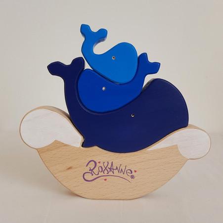 Jouet baleines en bois