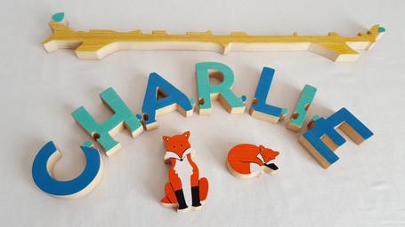 Prénom puzzle avec renards