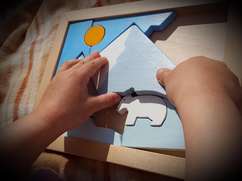 Jouet artisanal, tableau puzzle