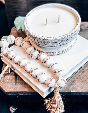 Whitewash Beaded Clay Bowl