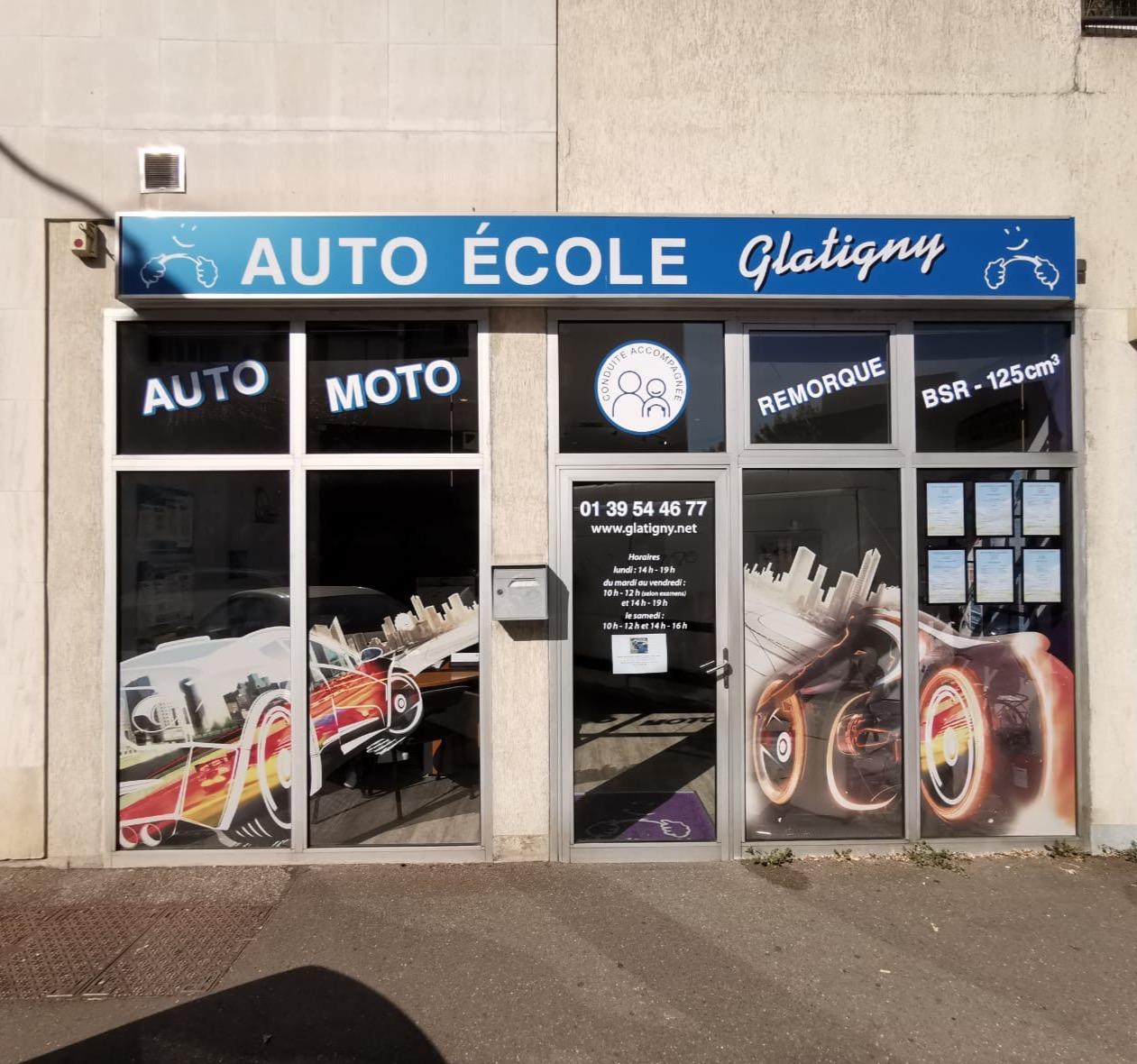 devanture de l'auto-école Glatigny à Le Chesnay