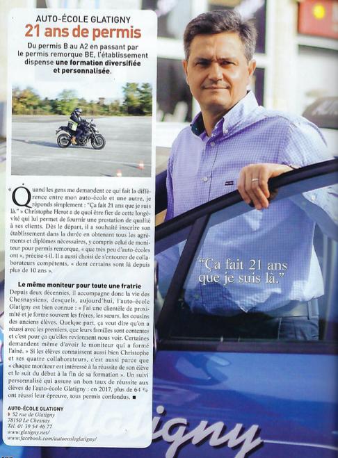 Christophe HÉROT dans le journal pour son auto-école Glatigny à Le Chesnay