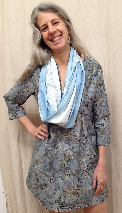 Light Blue and Olive Starburst Tunic
